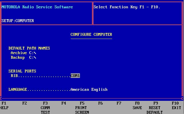 GP300 PC Configuration menu